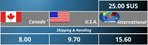 15.60 International 9.70 U.S.A. Shipping & Handling 8.00  Canada *  25.00 $US